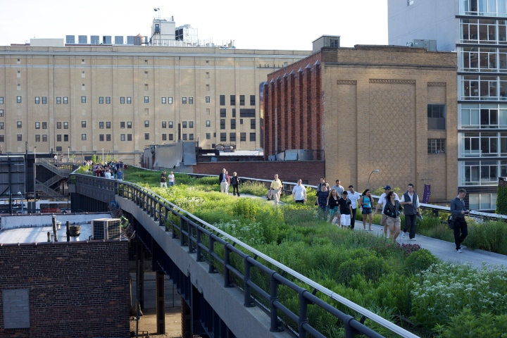 The High Line is about 30 feet off the floor and it runs through a gentrified belt of the West Side