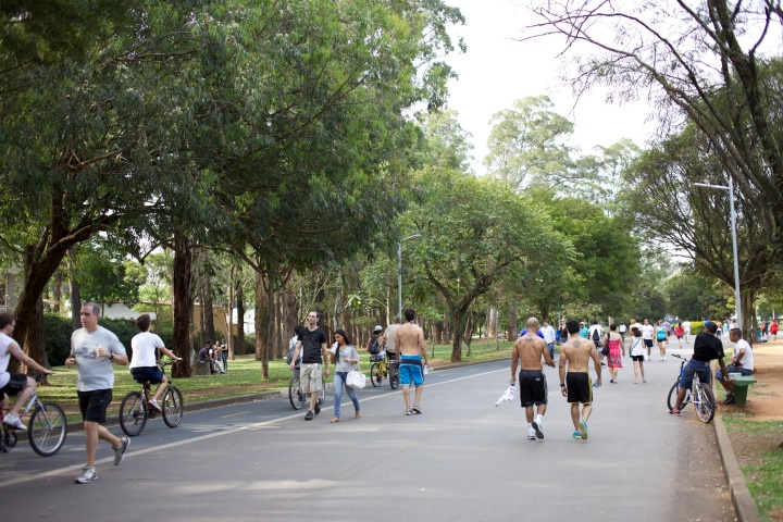 Thousands of bikers, roller bladers and long boarders enjoying the traffic free roads